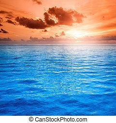 marine, folie, scène, océan, plage coucher soleil, paysage