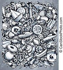 Marine hand drawn vector doodles illustration. Monochrome ...