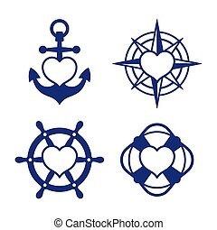 Marine heart icon set of anchor and compass - Set of four...