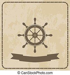 marine helm steering wheel on grunge background