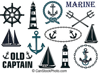 Marine heraldic elements set with anchors, lighthouse, ...