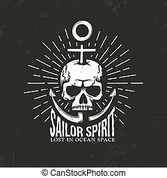 skull emblem with anchor