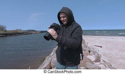 marine, homme, photographié