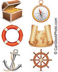 Marine icons. - Set of 6 marine icons.