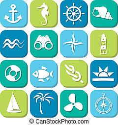 marine icons in squares