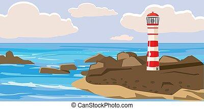 marine, illustration, lighthous, isolé, vecteur, rochers, pierres, dessin animé, style