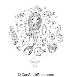 Marine illustrations set. Little cute cartoon mermaid, funny...