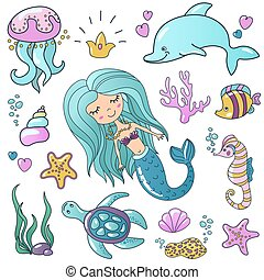 Marine illustrations set. Little cute cartoon mermaid siren, tropic fish, sea starfish, various shells, sea horse, dolphin and crab. Vector sea theme.