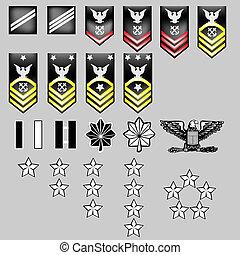 marine, insigne, nous, rang