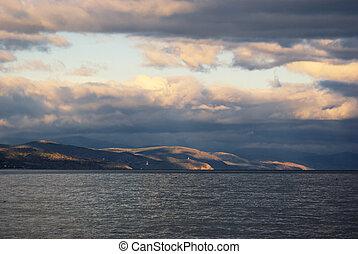 Marine landscape at sunset