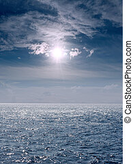 Seascape with the sun and clouds