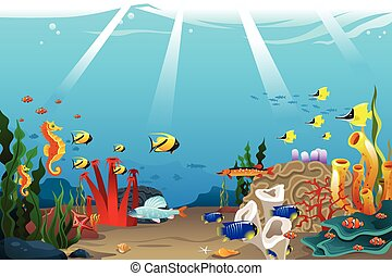 Marine life - A vector illustration of marine life design