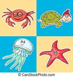Marine Life. Card for children.