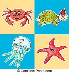 Marine Life. Card for children.