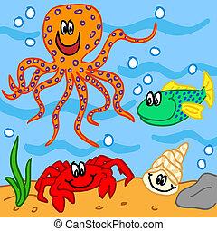 Marine life cartoon characters