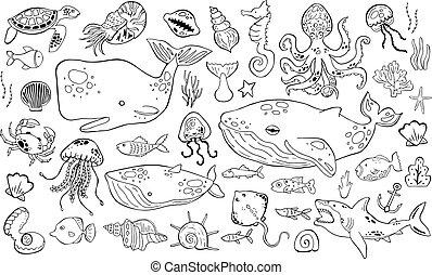 Marine life collection of sketche set. Sea animals.