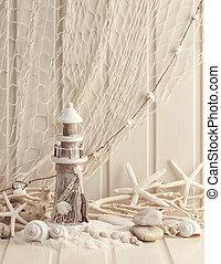 Marine life decoration and on wooden shabby background