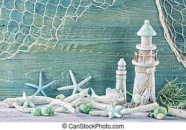 Marine life decoration on a green shabby background