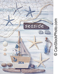 Marine life decoration on a wooden background