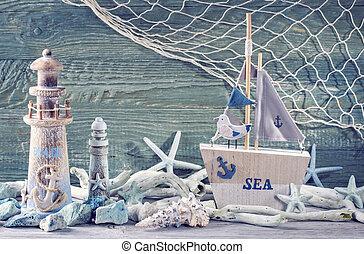 Marine life decoration on blue shabby background