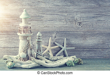 Marine life decoration on grey shabby background