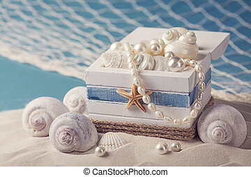 Marine life decoration on sand