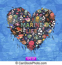 Marine life heart background