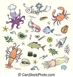 Marine life icons and animals