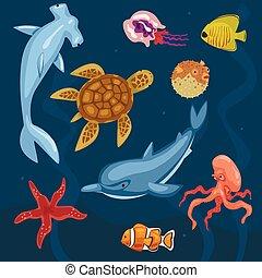 Marine Life, Ocean Inhabitants, Sea Fauna of Octopus, Dolphin, Starfish, Jellyfish, Fishes, Turtle Vector Illustration