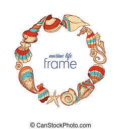 Marine life round frame