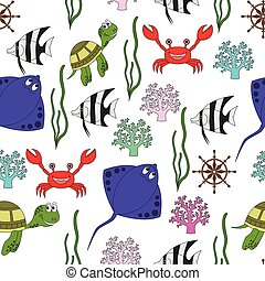 Marine life seamless pattern
