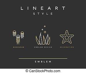 Marine life set emblem in linear style.
