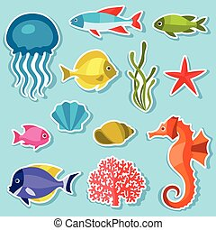 Marine life set of sticker, objects and sea animals.