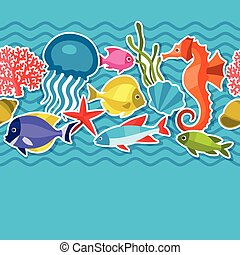Marine life sticker seamless pattern with sea animals.