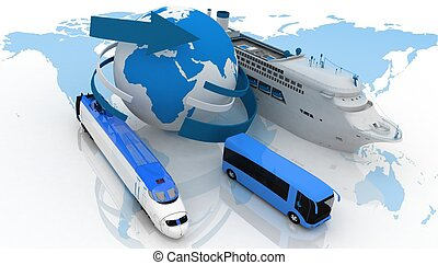 marine liner, bus and train on a background map of the world. types of transport for a cruise