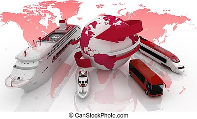 Types of transport for a cruise - Marine liner, yacht, bus ...