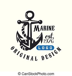 Marine logo original design est 1976, retro label with anchor for nautical school, sport club, business identity, print products vector Illustration on a white background