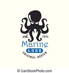 Marine logo original design est1976, retro badge with octopus for nautical school, sport club, business identity, print products vector Illustration on a white background