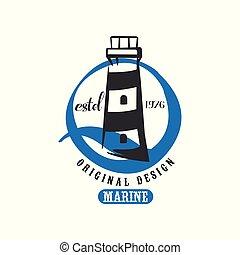 Marine logo original design estd 1976, retro badge for nautical school, sport club, business identity, print products vector Illustration on a white background