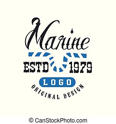 Marine logo original design estd 1979, retro badge for nautical school, sport club, business identity, print products vector Illustration on a white background