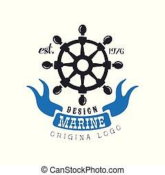 Marine logo original design, retro label for nautical school, sport club, business identity, print products vector Illustration on a white background