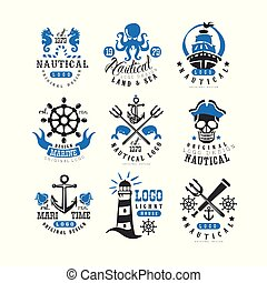 Marine logo set, design element for nautical school, club, business identity, print products vector Illustration on a white background