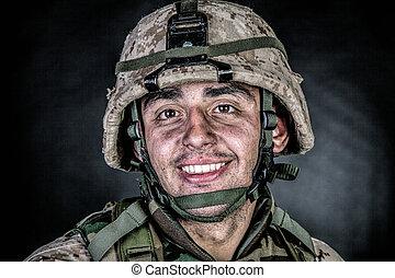 Marine machine gunner with ammo belts on chest