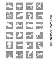 marine mammals icons