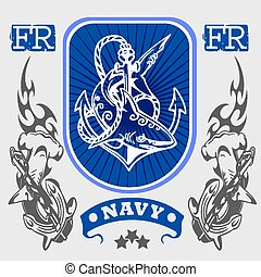 marine, militaer, design, -, vektor, illustration.