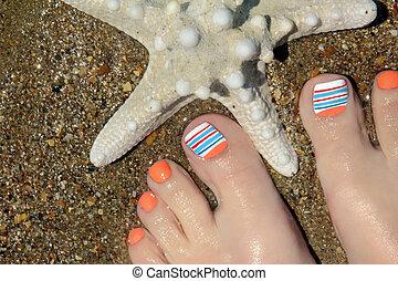 Marine nail design.