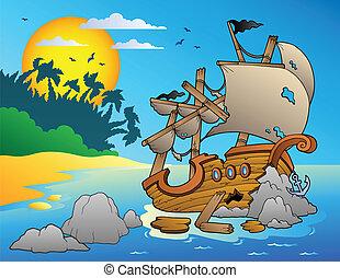 marine, naufrage, rochers