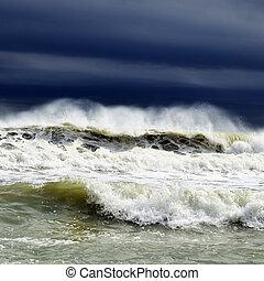 marine, orage, vue