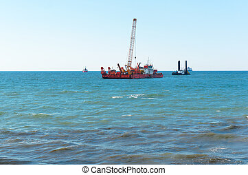 marine petroleum platform, drilling rig oil rig at sea, a drilling rig in the sea, offshore oil wells