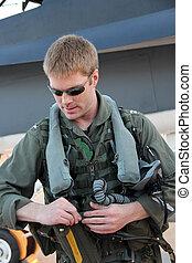 marine, pilot, kämpfer, auf, zahnräder